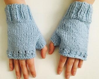 Blue Organic Cotton Wrist Warmers