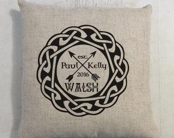 Arrows and Heart Irish Celtic Wedding Ring Heart Custom Last Name Linen Style Pillow Wedding or Anniversary Gift