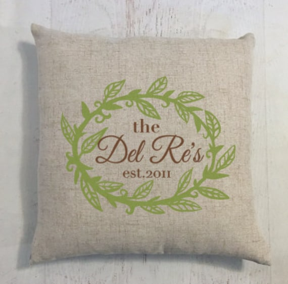 Pillow Custom Last Name Linen Style Wedding or Anniversary Gift pictured in Green and Brown