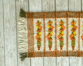Floral Crewel Throw Rug 1960s Retro Orange White Brown Vintage Woven Fringe Entryway Rug