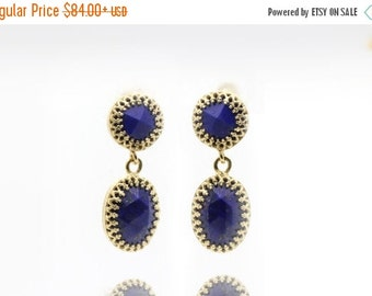 SUMMER SALE - Lapis earrings,gold earrings,long earrings,gemstone earrings,September birthstone earrings,dangle earrings