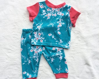 Girl Two Piece Child Clothing Set, Floral, Flower, Pink, Blue