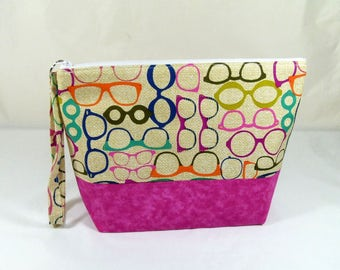 Knitting Project Bag - Medium Zipper Wedge Bag in Color Frames Quilting Fabric with Pink Polka Dot Cotton Lining