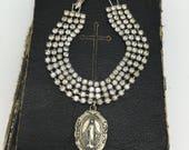 Miraculous Medal Bracelet Religious Charm Bracelet Religious Bracelet Vintage Rhinestone Bracelet