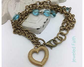 Heart Bracelet Vintage Charm Bracelet vintage Bracelet