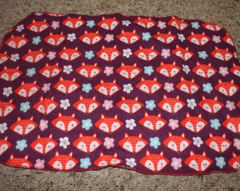 Purple Fox and Flower Burp Cloth with Minky Pink, Blue, White