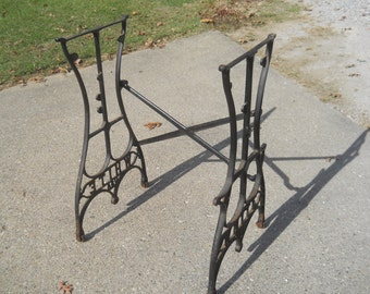 Antique Heavy Cast Iron WHITE USA Treadle Sewing Machine Base Legs With Middle Brace--Rollers-Repurpose-Steam Punk-Table legs