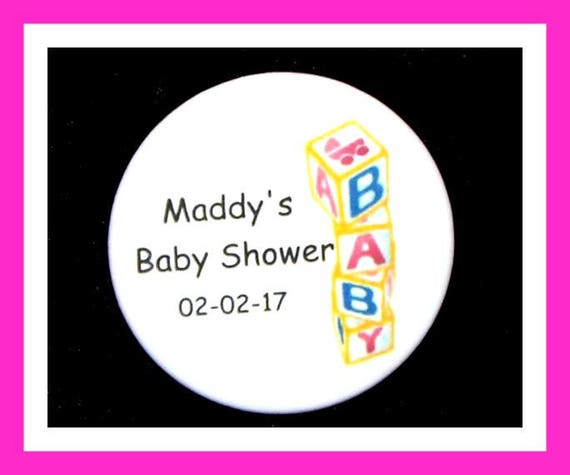 Baby Shower Block Pins,Personalized Button,Favor Tag,Its a girl,Its a Boy,Party Favors,Birthday Party Favors,Personalized Favors,Set of 10