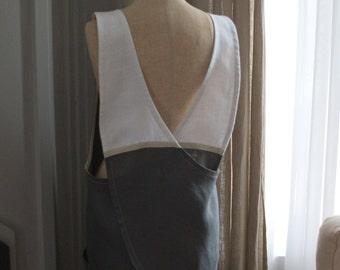 Japanese Apron Dress, Pinafore Apron Dress, European Linen Cross Back Apron, Large Pockets, Eco Friendly Apron, Pinafore Apron, Linen Tunic