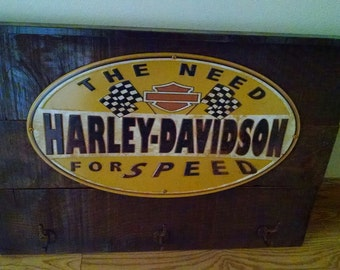Awesome Harley Davidson Wall Decor...Rustic... Handmade...Great Motorcycle Piece..Think Christmas..