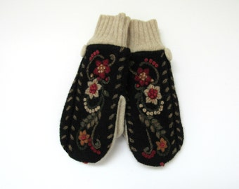 Wool Mittens Fleece Lined Beige Black Red and Olive Green Embroidered Floral Mittens Felted Wool Sweater Mittens