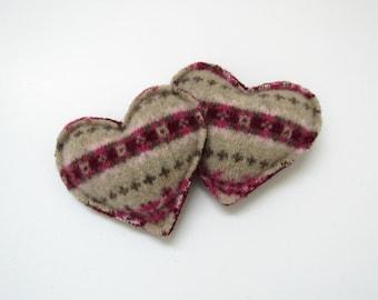 Wool Heart Hand Warmers Rose Pink Burgundy and Tan Fair Isle Hearts Felted Wool Rice Pocket Handwarmers