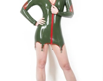 Latex Dress, Latex Military Pin Up Suspender Dress