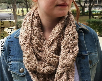 KNITTING PATTERN,infinity cowl,knit infinity scarf,knit lace cowl,reversible,knit cowl pattern,women,teens,worsted weight,taupe,beige,knit