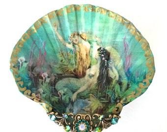 Between Two Mermaids Medium Shell Jewelry Dish Trinket Dish Ring Dish Jewelry Storage
