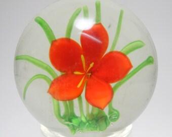 Antique Sandwich Glass Red Sulfide Flower Art Glass Paperweight, Sandwich Glass Paperweight, Red Flower Green Grass Antique Paperweight