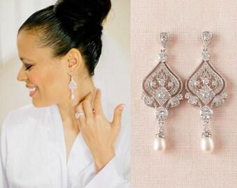 Crystal Bridal Earrings, Chandelier Bridal Jewelry, Rhinestone, Bridesmaids, Danella Chandelier Earrings