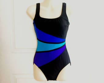 70s Robby Len Swimsuit * Color Black Swimsuit * Black and Blue Swimsuit * Black Bathing Suit * 70s Bathing Suit * Vintage Swimsuit