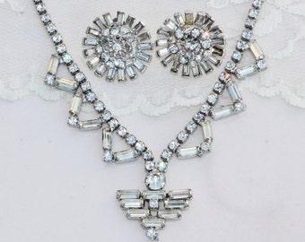 SALE STUNNING Vintage Rhinestone Drippy Tennis Necklace & Earrings,Denbe Signed Clear Rhinestone Crystal Baguette,Screw Back,Demi Parure,Bri