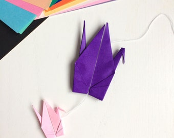 Origami paper cranes - purple and pink