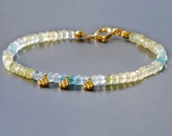 Multi Aquamarine Bracelet by Agusha. Beaded Aquamarine Bracelet.