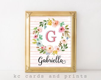 Nursery Monogram Art, Gabriella, Nursery Decor, Nursery Wall Art, Kids Room Decor, Baby Name Signs, Printable Art, Digital Print