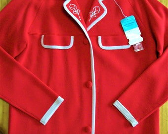 XL 1960s Vintage NWT Deadstock Red & White Cardigan - Pure Wool.