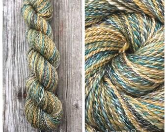 Handspun yarn,  Hand Spun Polwarth/Tencel, Wool yarn, Hand Dyed Yarn, DK weight