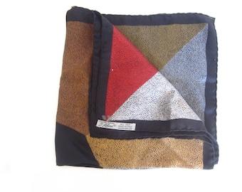 Vntage Ashear silk scarf, pocket square handkerchief, made in Italy