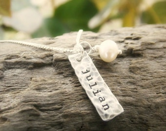 Necklace with Kids Names Sterling Silver Stamped Distressed Tags