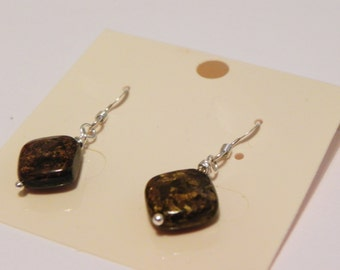 Bronzite square sterling silver gemstone drop earrings