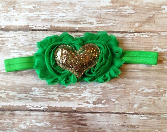 Green and Gold St Patrick's Day Headband | Green and Gold Heart Headband | Newborn-Adult