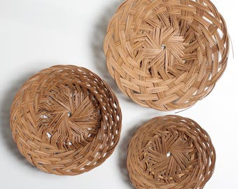 3 Vintage Wicker Basket Set/ Wicker Baskets/ Vintage Baskets/ Baskets Wall