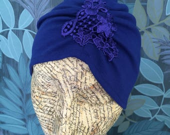 Electric blue vintage style turban with lace detail