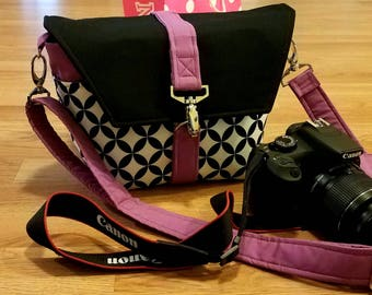 NEW-Camera bag-Digital SLR camera bag-DSLR camera case-womens camera bag-Extra bonus-Strap cover and Back pocket-Magenta on Diamond eye