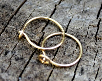 Gold Hoops - 14K Gold Hoop Earrings - Solid Gold Hoops - 14K Gold Earrings - Half Inch Hoops - Minimalist - 14K Gold Jewelry - Two Feathers