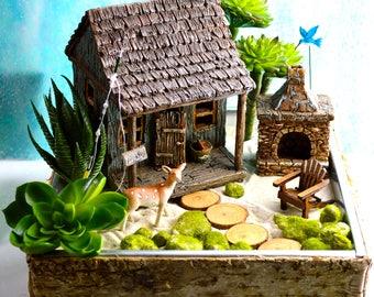 Fishing Cabin Garden Kit ~ Father's Day Gift ~ Rustic Cabin ~ Fishing Pole ~ Miniature Garden ~ Birchwood Planter ~ Faux Succulent option
