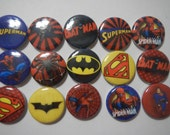 15 Super Hero Logo Inspired Craft Flat Back Embellishment Buttons