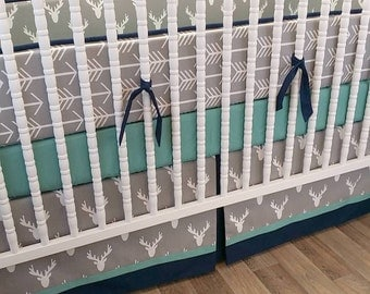 Boy Crib Bedding- Boy Baby Bedding- READY TO SHIP- Deer Bedding- Arrow Bedding