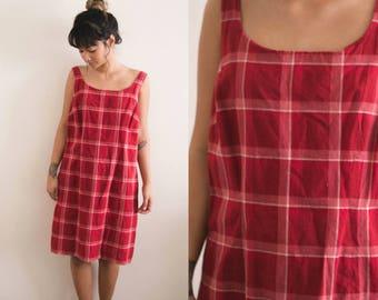 Red Plaid Jumper Dress / Tartan Overall Dress / Plaid Dress / Red Dress / Mini Dress / Sleeveless 90s Short Bib Checkered Large Oversized