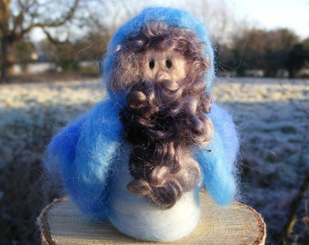 Winter Gnome 'Ice' - Needle Felted in the Waldorf style