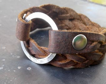 Brown Braided Leather Wrap Bracelet