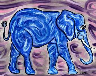BLUE ELEPHANT Art Print on Cardstock