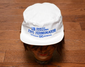 vintage 80s Spring Break '86 hat white painter hat Typo Terminator Smith Corona typewriter 1980 paint cap one 100% cotton
