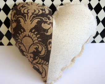 Burlap & Cotton Heart ~ OOAK