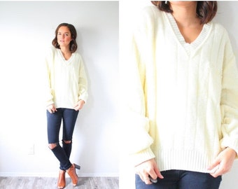 30% OFF VALENTINES SALE Vintage cream oversized sweater // cream off white yellow sweater // boho navajo // sweater dress // light yellow //