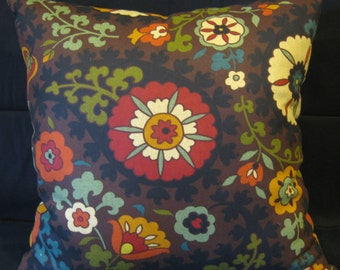 green brown gold orange red blue pillow cover 24 X 24