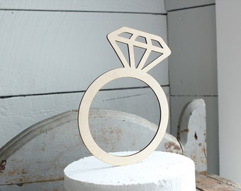 Diamond Ring Cake Topper Rustic Bridal Shower Cake Topper