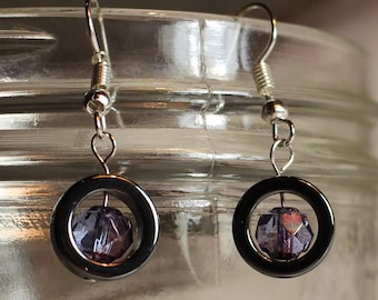 Hematite Circles and Purple Glass Bead Earrings