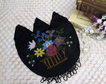 CLOSING SHOP SALE Antique Purse Vintage Purse Victorian Black Beaded Purse Flowers vase Nos near mint 13-5-Acs